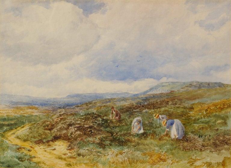 David Bates b.1840 Landscape Painting - Gathering Heather Stalks