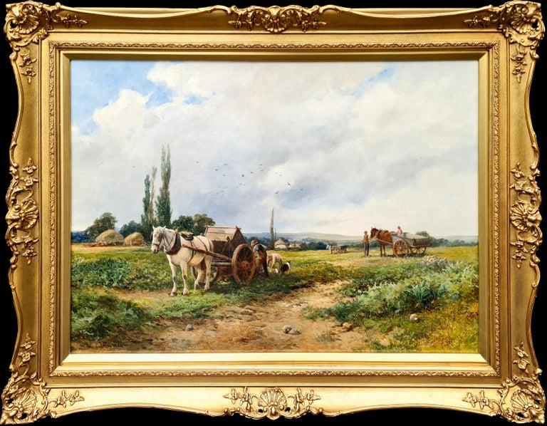 David Bates b.1840 Figurative Painting - Loading the Crop