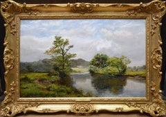 On the River Severn - 19th Century Victorian Landscape Oil Painting