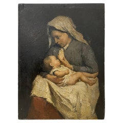 David Bautz 'Dutch' Oil Portrait of a Young Mother and Child, circa 1920