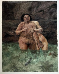 Lust, From the Seven Deadly Sins Series, Nude Figures, Oil on Watercolor Paper