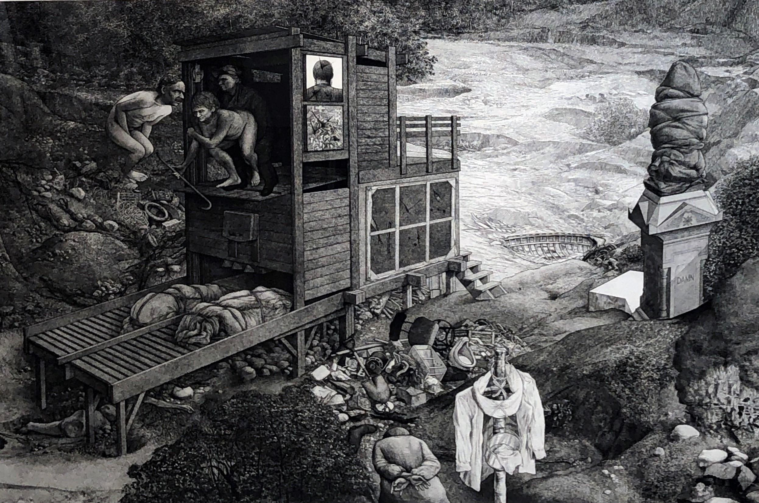 Monuments - Highly Detailed Allegorical, Surreal Etching with Multiple Figures