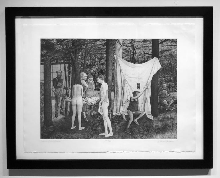 Union Grove Picnic -Surreal Allegorical Landscape with Multiple Figures, Etching - Print by David Becker