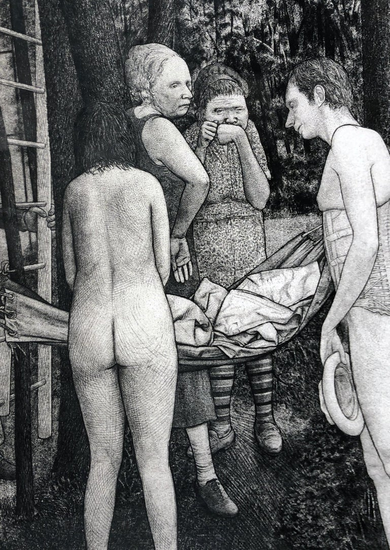 Union Grove Picnic -Surreal Allegorical Landscape with Multiple Figures, Etching For Sale 3