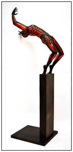 David Bennett Large Original Blown Glass Bronze Sculpture Signed Male Acrobat