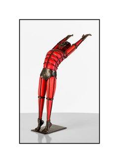 David Bennett Original Hand Blown Glass Bronze Sculpture Signed Male Figurative