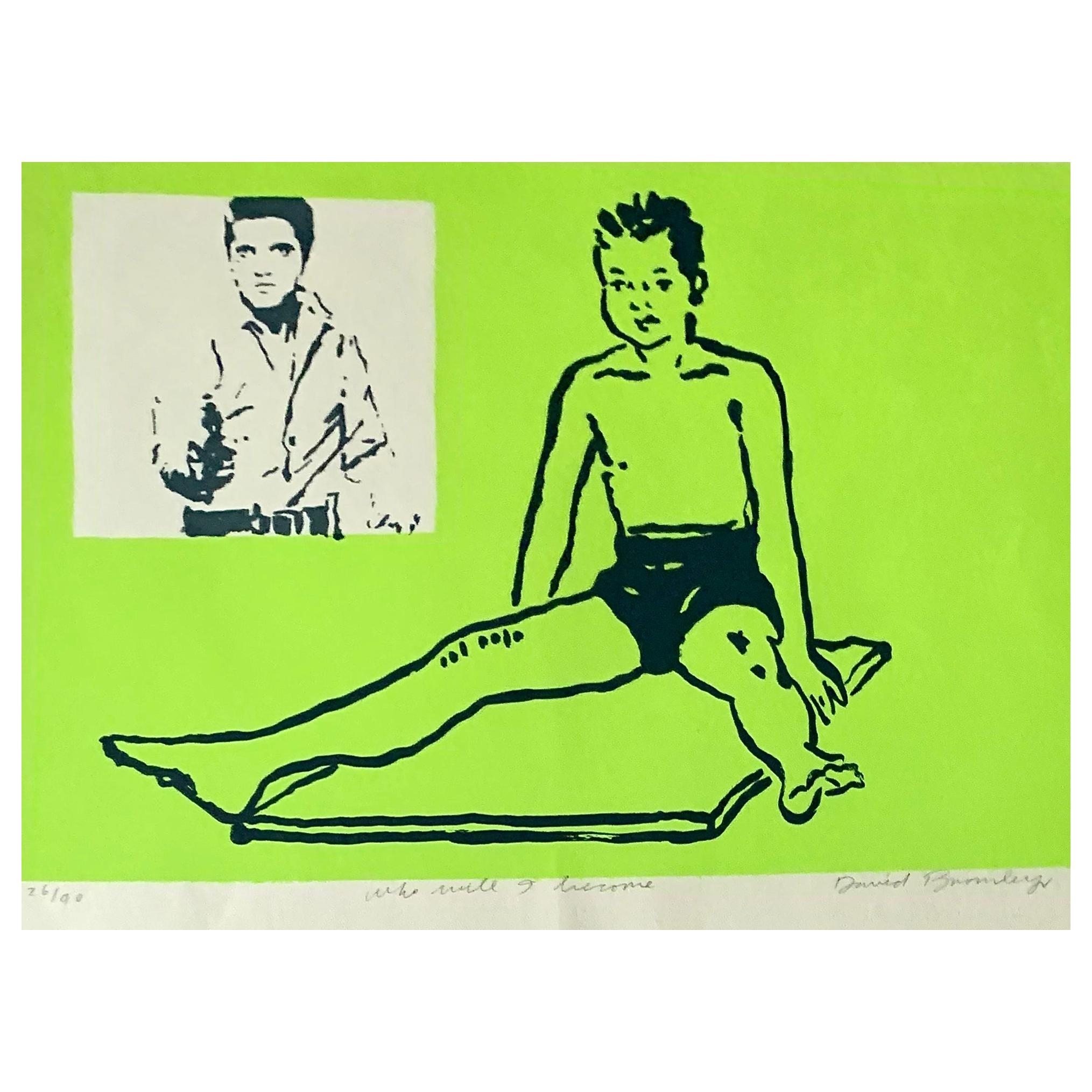 David Bromley Aussie Pop Art Silk Screen Painting 'Boy Leaping' 1990s Modern Art