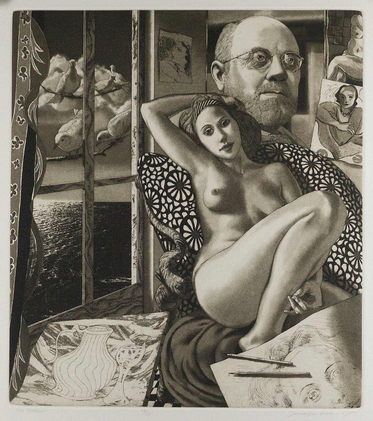 David Bumbeck creates a portrait of Henri Matisse using that artist's imagery and iconography to frame the portrait.  This impression is #25 from an edition of 65   Throughout his career Bumbeck has been passionately engaged in the study of earlier