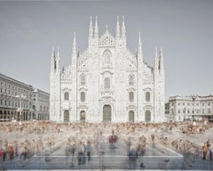 Piazza of Shadows, Milan, Italy (Color Photography)