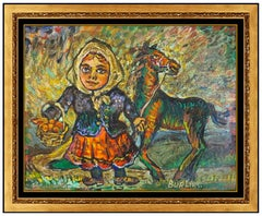 David Burliuk Original Oil Painting On Board Child Portrait Horse Signed Artwork