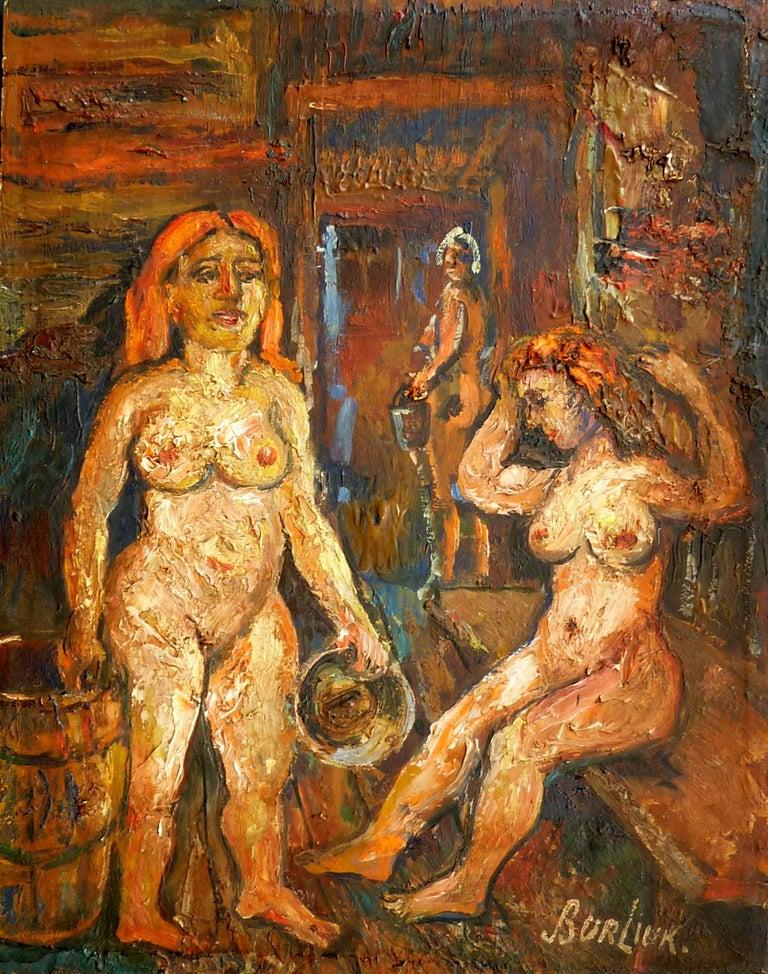 Two Women in the Sauna - Painting by David Burliuk