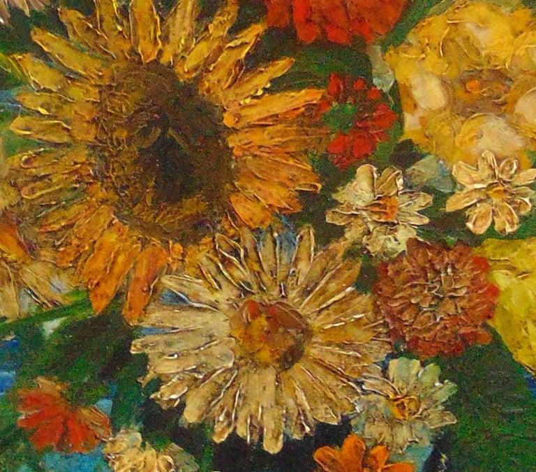Vase of Flowers on the Seashore - Painting by David Burliuk