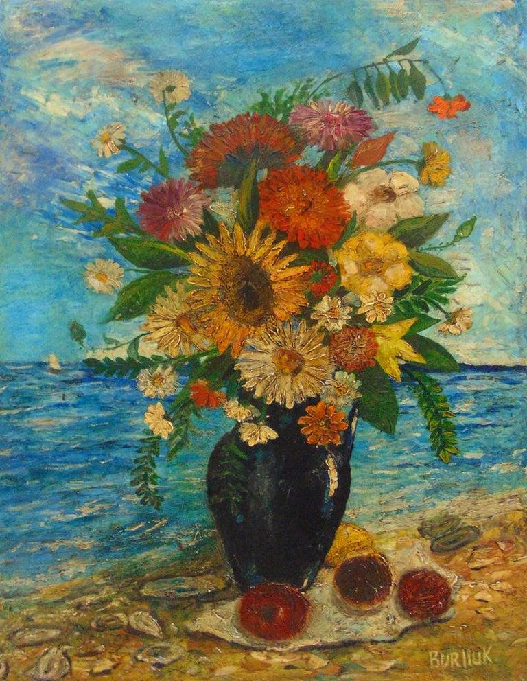 David Burliuk Still-Life Painting - Vase of Flowers on the Seashore