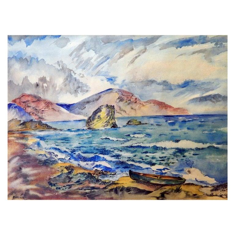 David Burliuk Signed Watercolor, 1947, Seascape For Sale