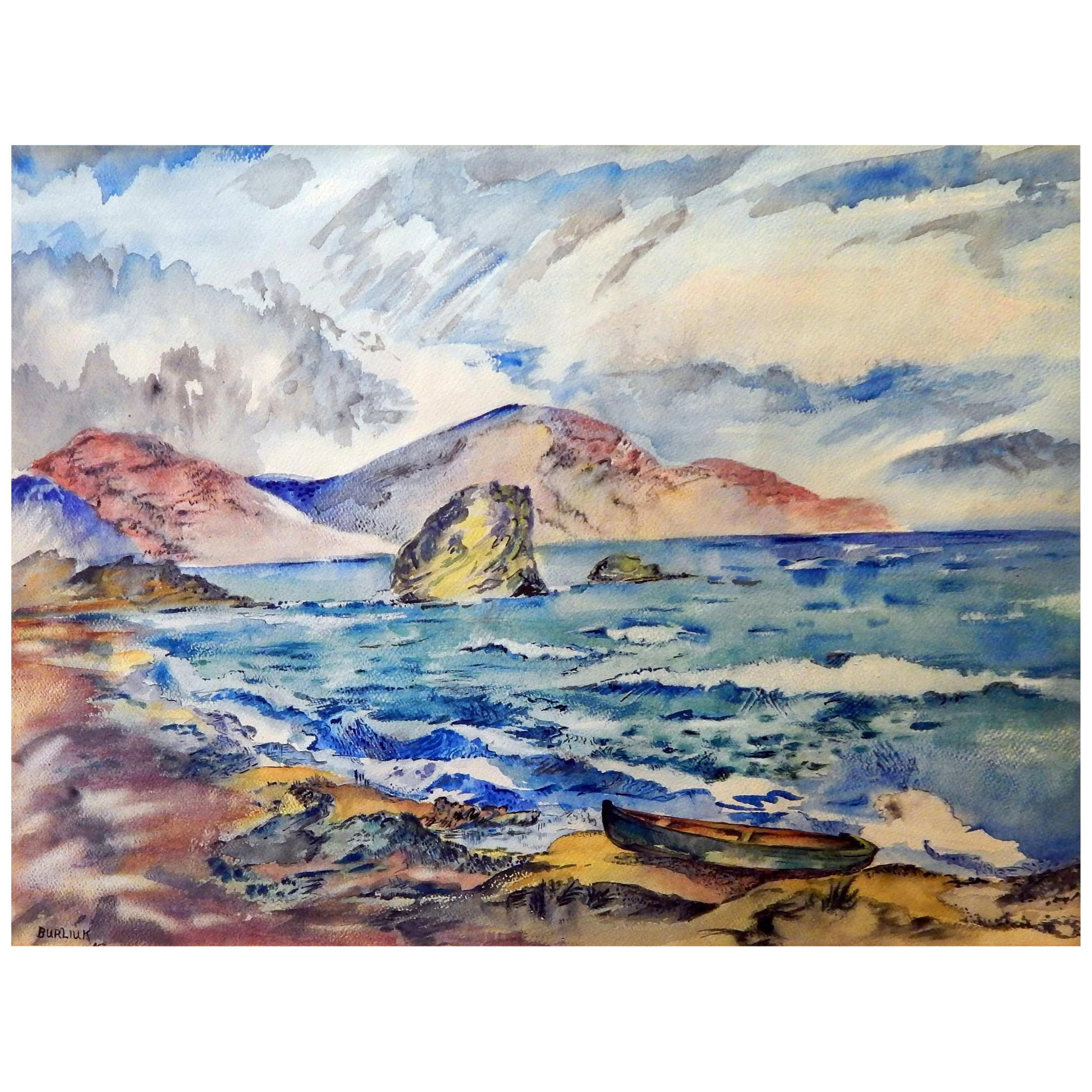 David Burliuk Signed Watercolor, 1947, Seascape