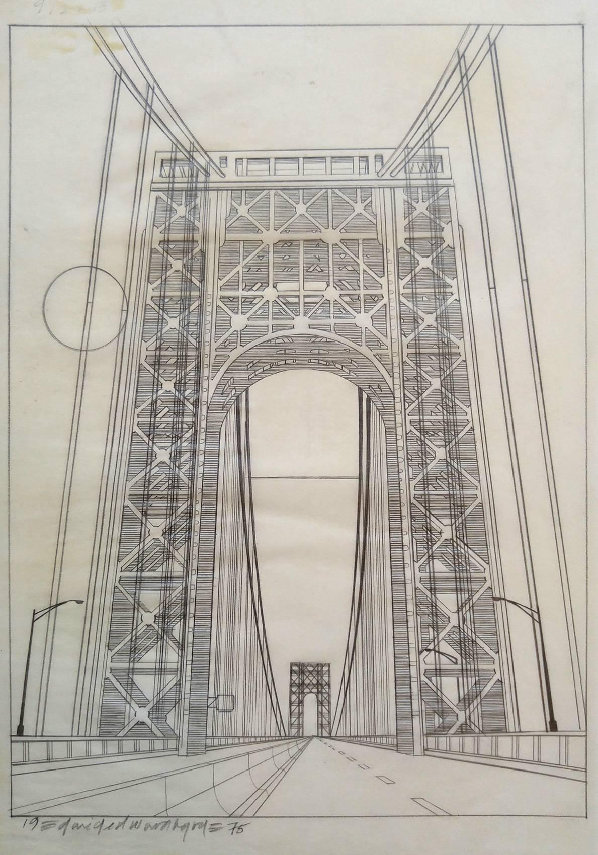 Original NYC Manhattan coloring book drawing, George Washington Bridge 1975,