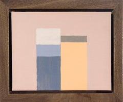 Things Plus Tops - small, dark blue, orange, minimalist still life on plexiglass