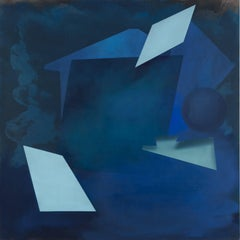 Behind the Night, Abstract Geometric Square Painting with Cobalt and Light Blue