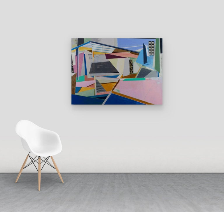 Black Top, Horizontal Geometric Abstract Painting in Pink, Blue, Yellow For Sale 1