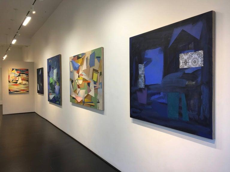 Dark Window, Geometric Abstract Painting in Dark Cobalt Blue, Teal, Dark Violet For Sale 1