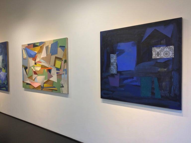 Dark Window, Geometric Abstract Painting in Dark Cobalt Blue, Teal, Dark Violet For Sale 2