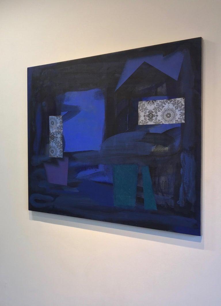 Dark Window, Geometric Abstract Painting in Dark Cobalt Blue, Teal, Dark Violet For Sale 3