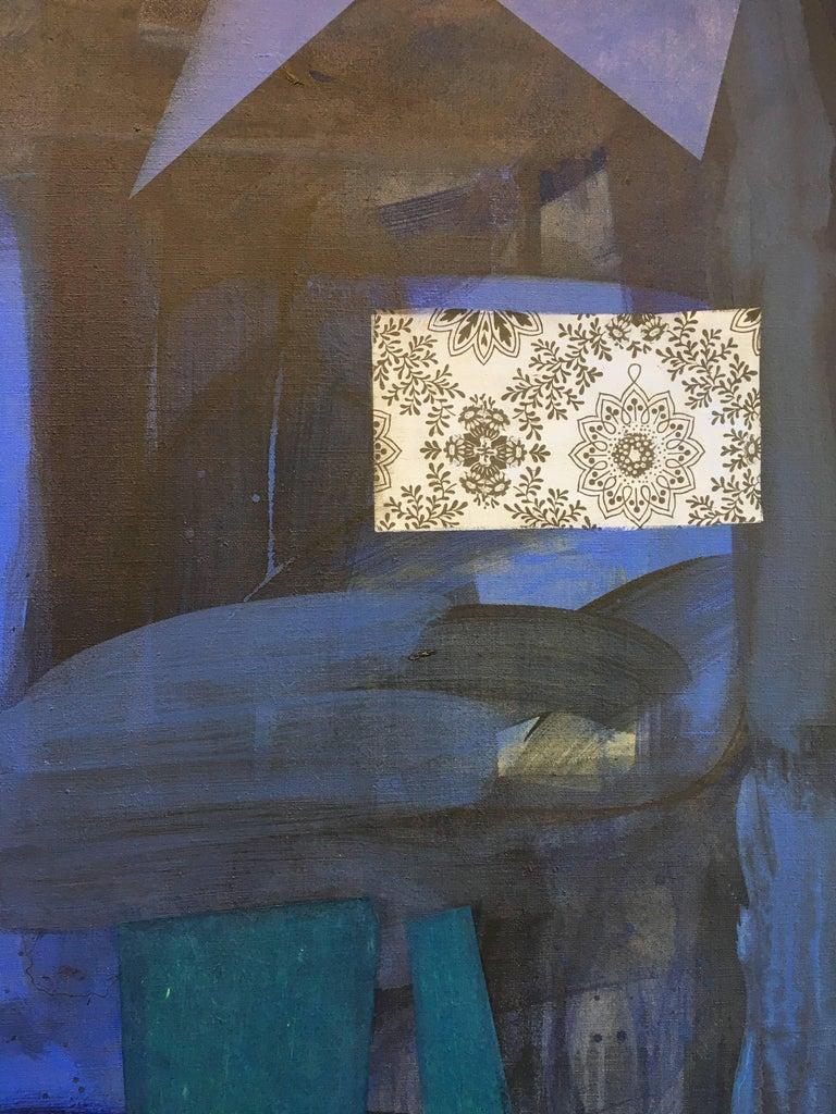 Dark Window, Geometric Abstract Painting in Dark Cobalt Blue, Teal, Dark Violet For Sale 4