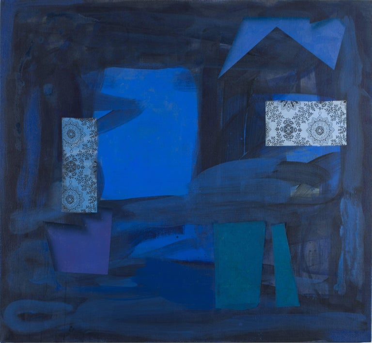In this large horizontal abstract geometric painting in shades of dark blue, David Collins incorporates silk elements on oil and acrylic on linen to create a dynamic surface. Variations of soft and hard edged shapes layer and blend together behind