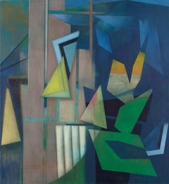 Dismantling the Day, Abstract Geometric Painting in Blue, Green, Orange, Yellow