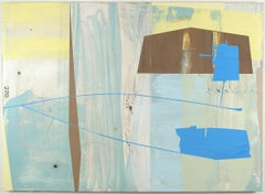 Hangar CR, blue and yellow geometric abstract painting on panel
