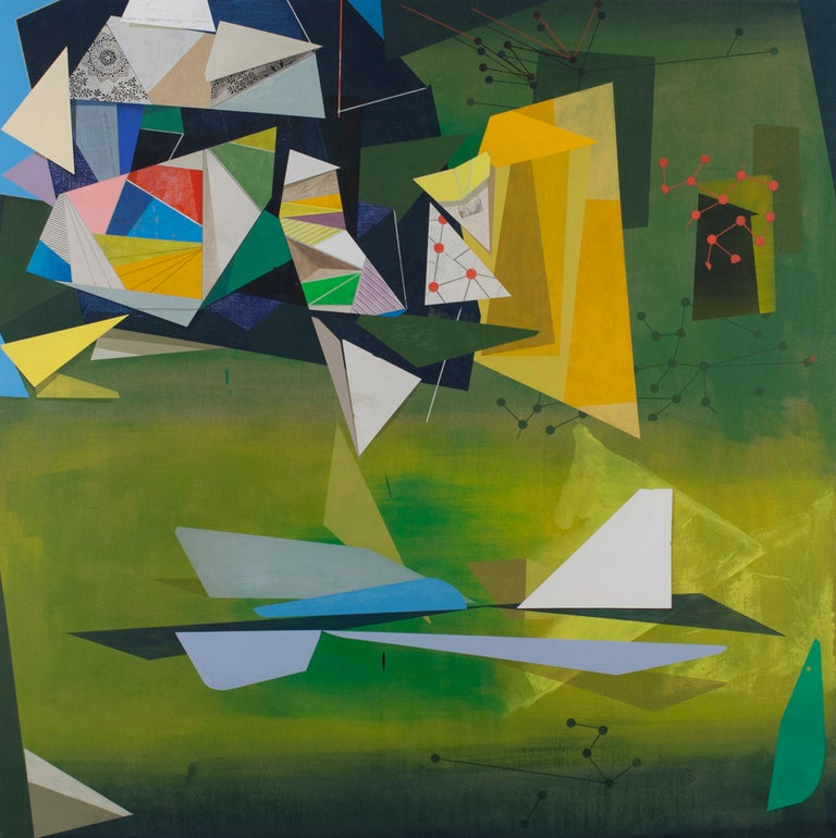 In this large, square geometric abstract painting on linen by David Collins, the bright green background complements bright geometric shapes in shades of blue, yellow, white, and red. The layering of the hard-edge shapes and their contrast to the