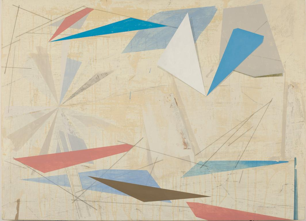 Rigging 2, geometric abstract painting on panel, neutral earth tones, triangles
