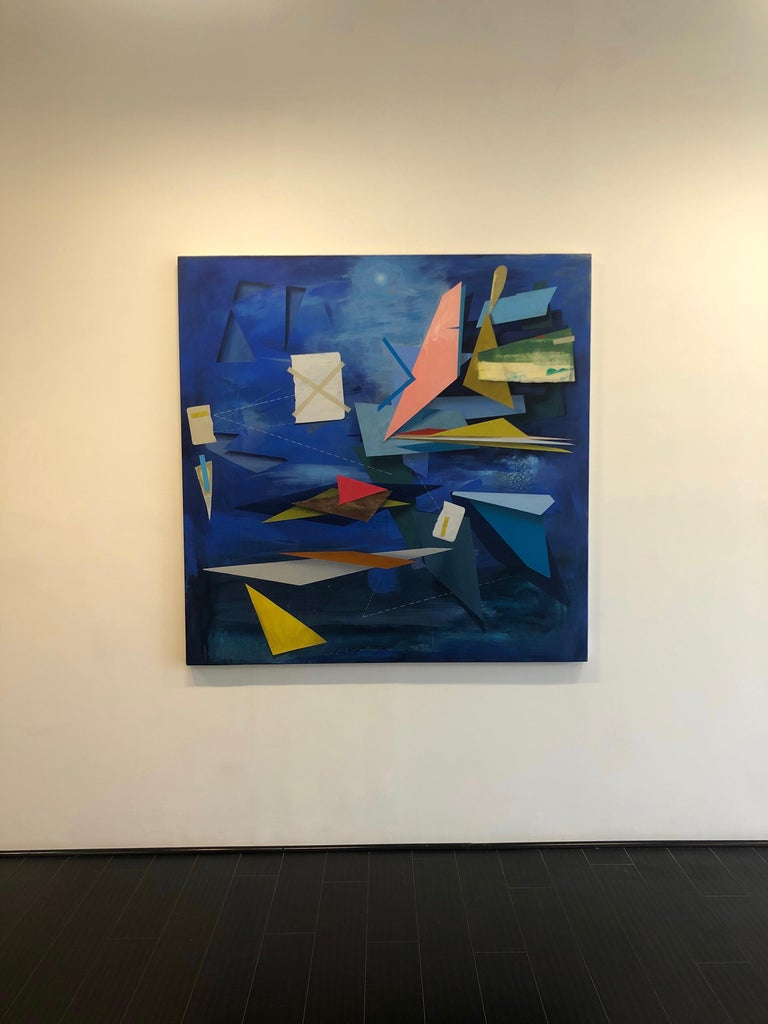 Signalman's Sleep, Large Square Geometric Abstract Painting in Blue, Yellow, Red For Sale 2