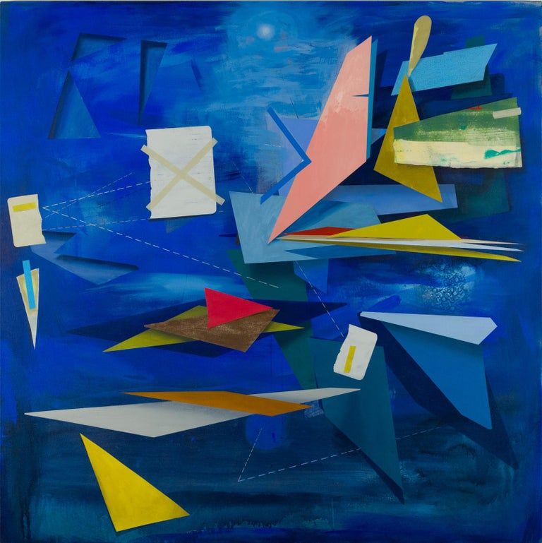 Signalman's Sleep is a large square geometric abstract painting with acrylic and paper on canvas. The luminous cobalt blue background beautifully offsets hard-edge, geometric shapes in vibrant hues of blue, dark orange, canary yellow, salmon pink