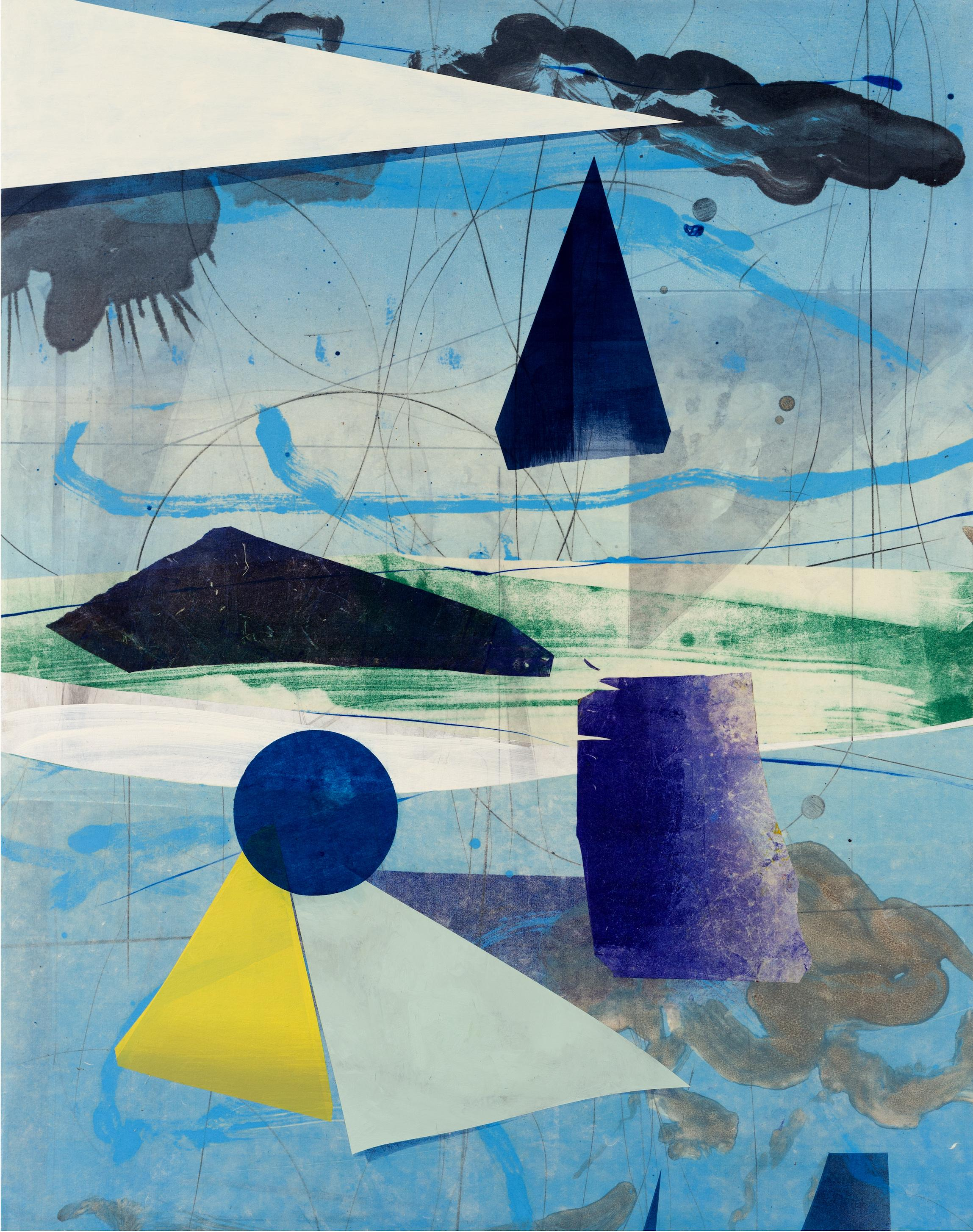 Transfer Meridian One, Vertical Abstract Geometric Painting, Blue, Green, Yellow