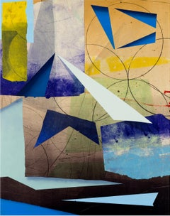 Transfer Meridian Three, Vertical Abstract Geometric Painting, Blue, Yellow