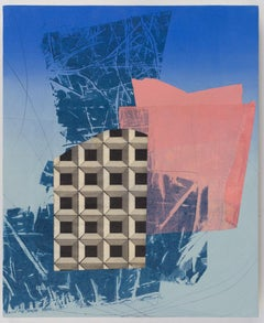 Triplet, blue and pink geometric abstraction, mixed media on paper on panel