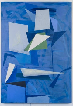 Untitled, blue geometric abstract painting on linen