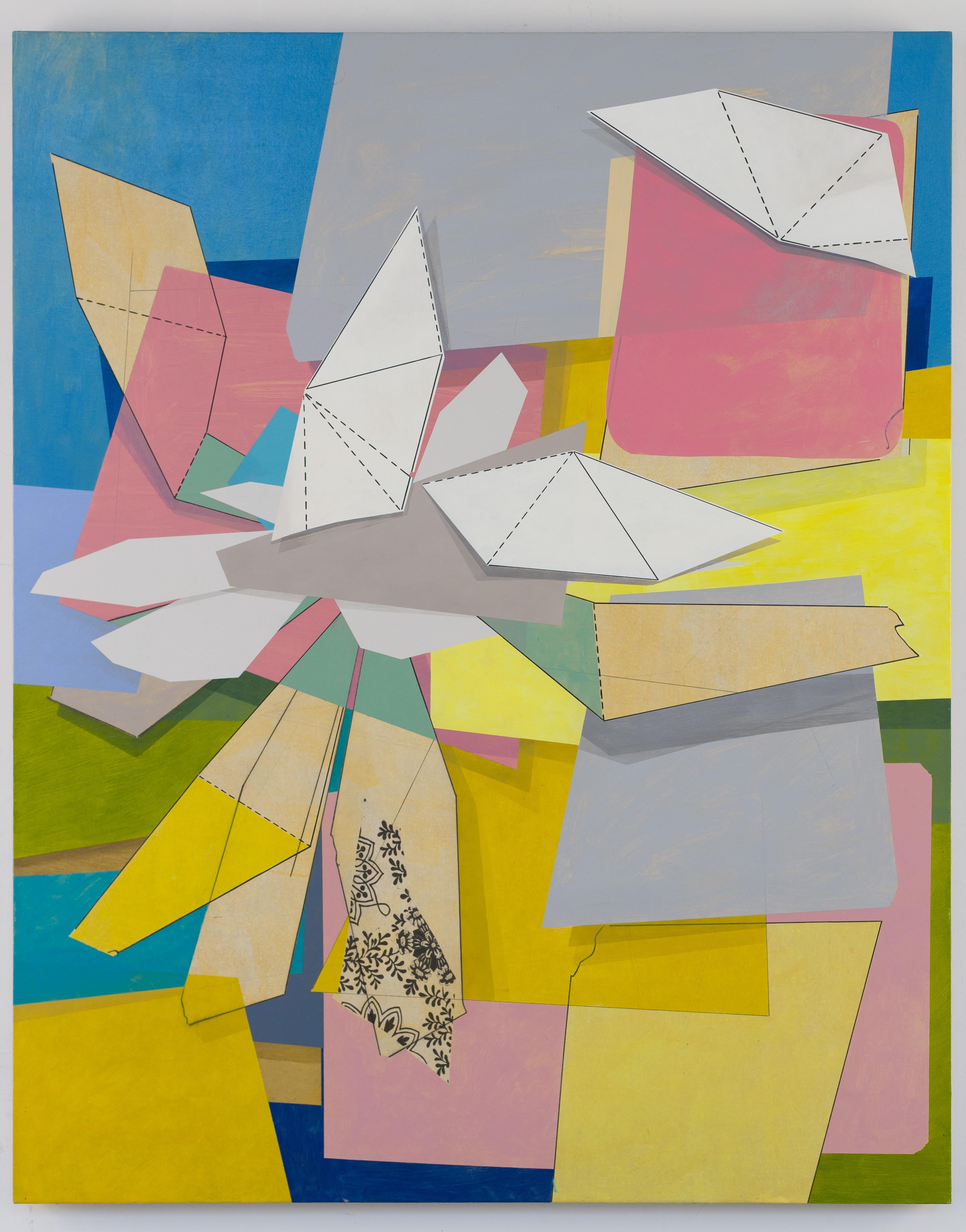 Untitled, blue, pink and yellow geometric abstract painting on linen