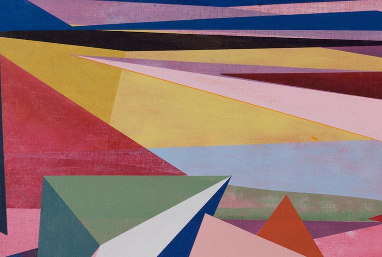 Untitled, Horizontal Geometric Abstract Oil Painting in Pink, Teal Green, Yellow - Blue Abstract Painting by David Collins