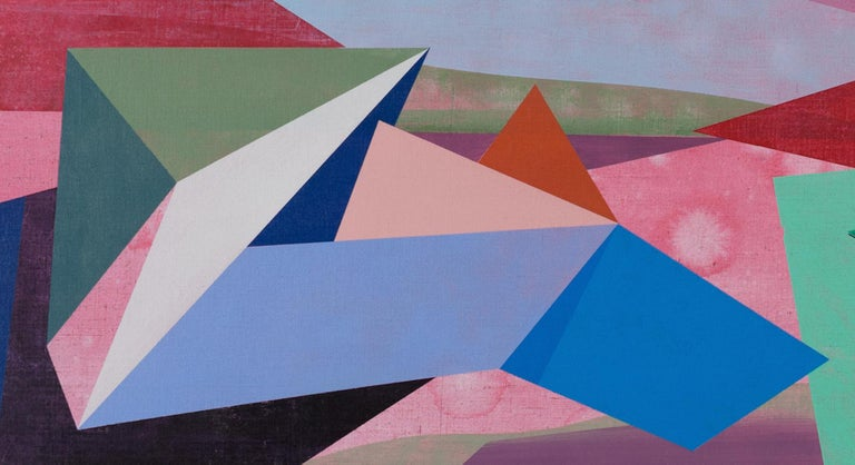 In this horizontal, geometric abstract painting on linen by David Collins, brightly colored hard-edged shapes in shades of teal green, blue, yellow and red appear to move in varying directions against a dusty pink background. The layering of these