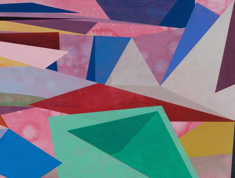 Untitled, Horizontal Geometric Abstract Oil Painting in Pink, Teal Green, Yellow For Sale 2