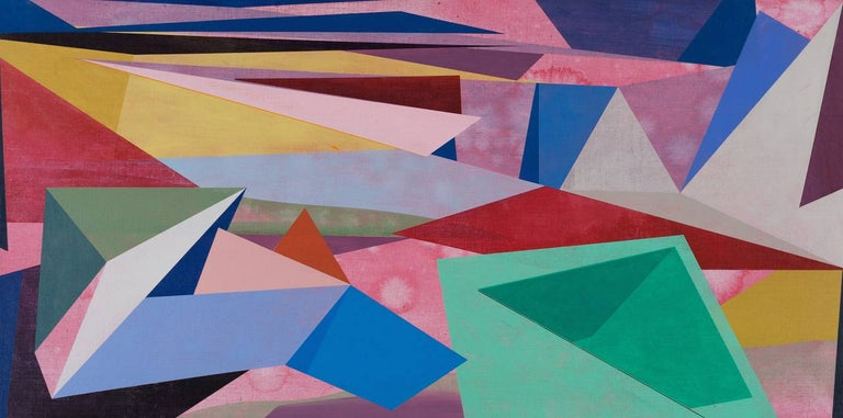 David Collins Abstract Painting - Untitled, Horizontal Geometric Abstract Oil Painting in Pink, Teal Green, Yellow