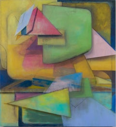 Untitled Two, Abstract Geometric Painting in Yellow, Green, Pink, Blue, Indigo