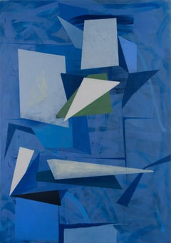 Untitled, Vertical Abstract Geometric Painting in Indigo Blue, Olive Green, Gray