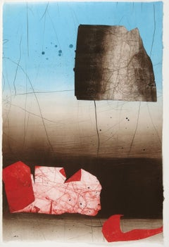 Coral Coulee, Vertical Abstract Monotype in Red, Blue, Brown, and Beige