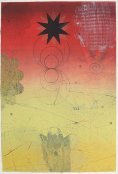Navigator XIII, Vertical Abstract Monotype in Yellow, Red, Black Star, Circle