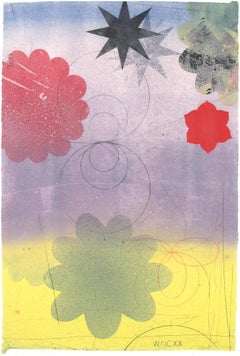 Navigator XXII, Vertical Abstract Monotype in Yellow, Purple, Blue, Red