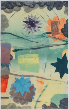 Pilot 12, Vertical Abstract Monotype in Yellow, Blue, Coral Star, Circle, Flower