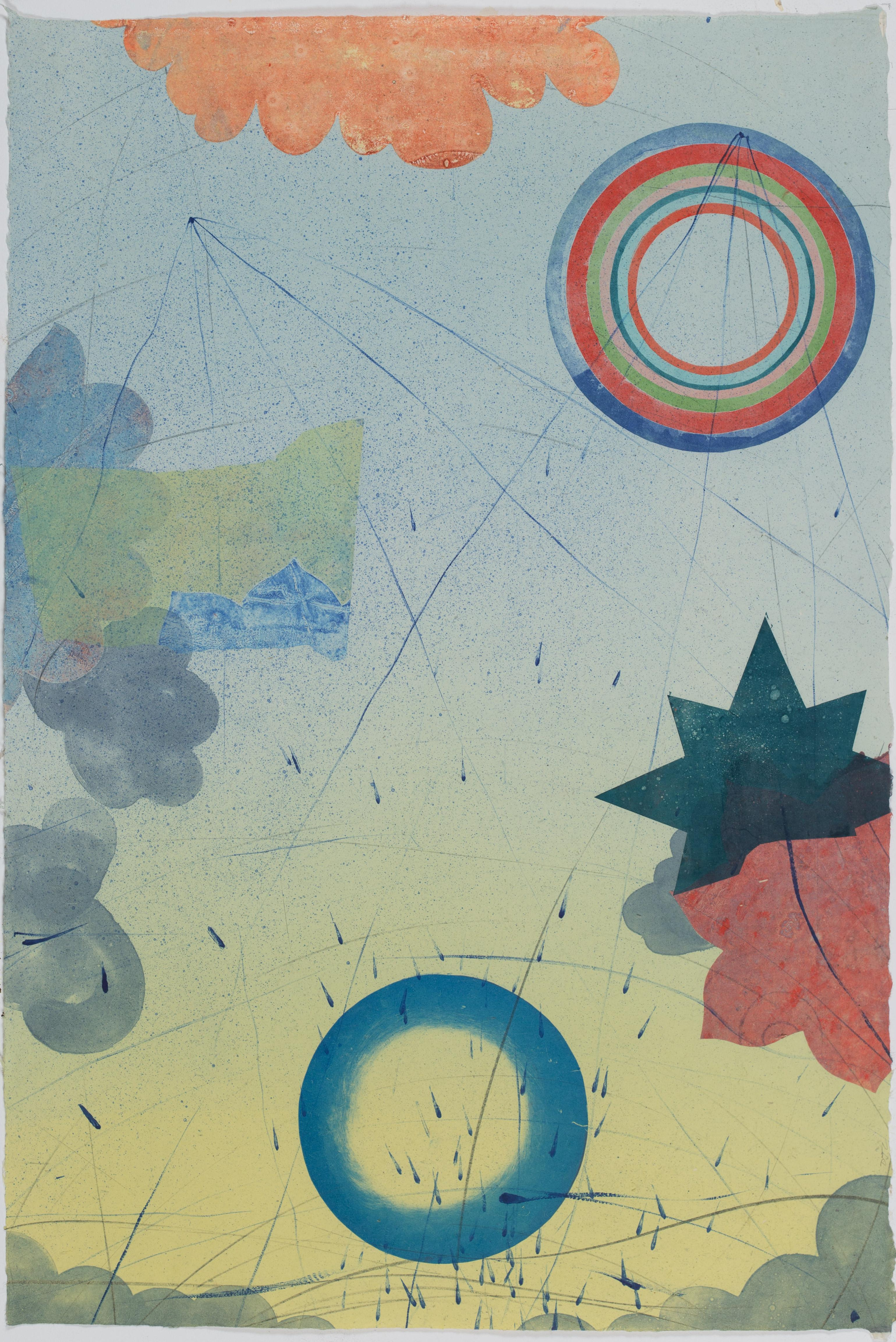 Pilot 22, Vertical Abstract Monotype in Teal Blue, Yellow, Coral, Circles, Stars